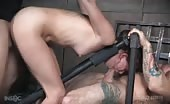 Zoey Lane suffers the two bar bondage prison, while being brutally fucked to orgasm!  Rough sex!
