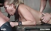 Big titted slut is double fucked while bound by a muscle bound sex beast and and hot Domme!